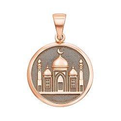 Золотой кулон Мечеть с чернением 000136390