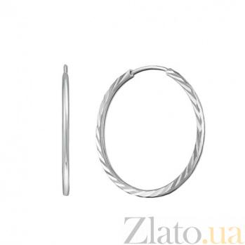 Серьги-конго с насечкой в белом золоте Миранда TRF--22150201
