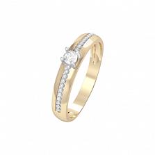 Золотое кольцо Сабрина с бриллиантом