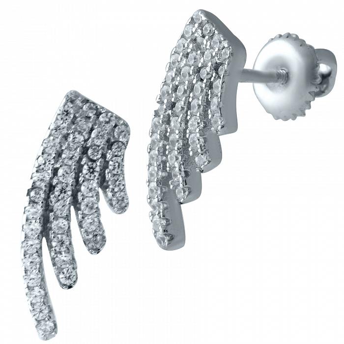 Серебряные серьги-пуссеты Крылья с фианитами 000068814