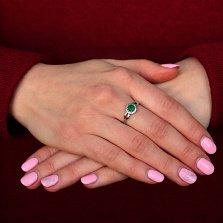 Серебряное кольцо Линара с зеленым агатом и фианитами