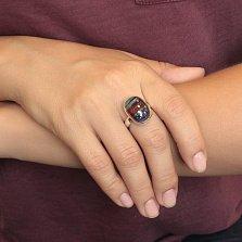 Серебряное кольцо Слоеный пирог с имитацией опала