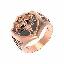 Золотой пертень-печатка Архангел Михаил с чернением