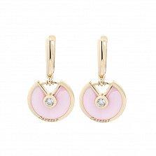 Золотые серьги-подвески Рузанна с розовой керамикой и фианитами в стиле Картье