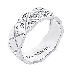 Серебряное кольцо с фианитами в стиле Шанель 000069805