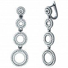 Серебряные серьги-подвески Боярышня с фианитами и черным родием