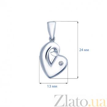 Серебряный родированный кулон с цирконом Искра в сердце AQA--S231550077