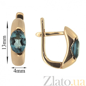 Золотые серьги Зафира из красного золота с топазами Лондон ZMX--ETL-6035_K