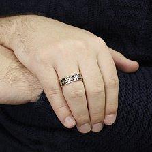 Золотое обручальное кольцо Любовный узор с черной эмалью