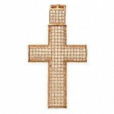 Крестик в красном золоте Желание с фианитами