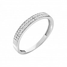 Обручальное кольцо из белого золота с фианитами Безоблачное счастье