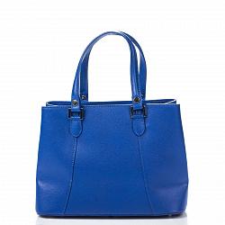 Кожаная деловая сумка Genuine Leather 8656 синего цвета с тремя отделениями и врезным карманом