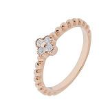 Серебряное кольцо Четырехлистник в позолоте с фианитами