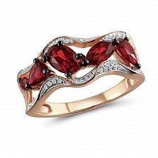 Кольцо из красного золота Каролина с бриллиантами и гранатами