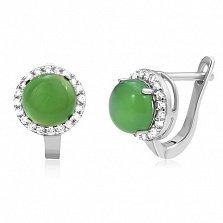 Серебряные серьги Рашель с зеленым агатом и цирконием