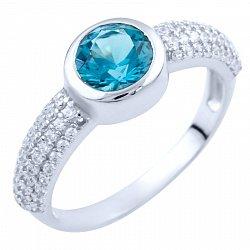 Серебряное кольцо с синтезированным топазом лондон и фианитами 000055969