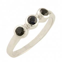 Серебряное кольцо Альба с сапфирами