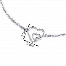 Серебряный браслет Сердце большое двойное с белым перламутром и родием, 13x12мм