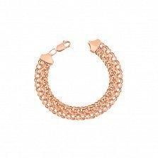 Золотой браслет Гваделупа в плетении двойной бисмарк с алмазной гранью