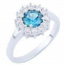 Серебряное кольцо Жозефина с топазом лондон и фианитами