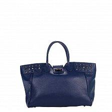 Кожаная деловая сумка Genuine Leather 8947 синего цвета с декоративными заклепками