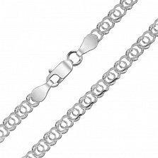 Серебряная цепь Пантера с родиевым покрытием и алмазной гранью, 5мм