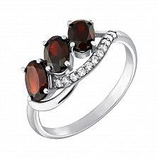 Серебряное кольцо Эйра с гранатом и фианитами