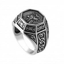 Серебряный перстень-печатка Георгий Победоносец