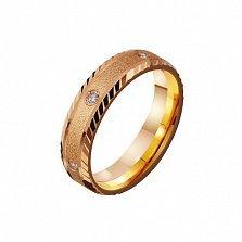Золотое обручальное кольцо Песня любви с фианитами