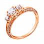 Золотое кольцо Селина в красном цвете с фианитами