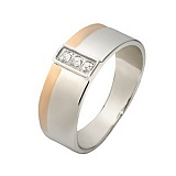 Серебряное кольцо Верность с золотой вставкой