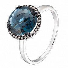 Кольцо в белом золоте Полина с лондон топазом и бриллиантами