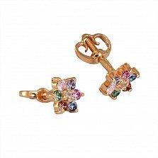 Золотые серьги-пуссеты Эллен с разноцветными фианитами и синтезированными рубинами