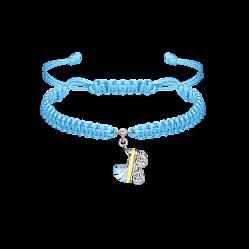 Детский плетеный браслет Коляска с эмалью на подвеске и фианитом, 12х12мм