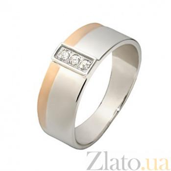 Серебряное кольцо Верность с золотой вставкой BGS--699к