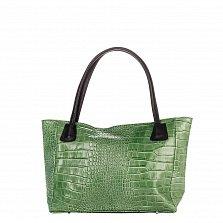 Кожаная сумка на каждый день Genuine Leather 8008 зеленого цвета с черными ручками, на молнии