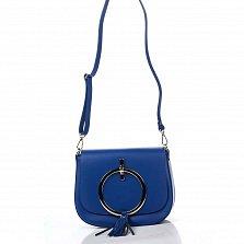 Кожаный клатч Genuine Leather 8621 синего цвета с декоративным элементом и плечевым ремнем