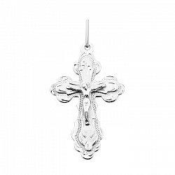 Православный крест из белого золота с насечкой 000104478