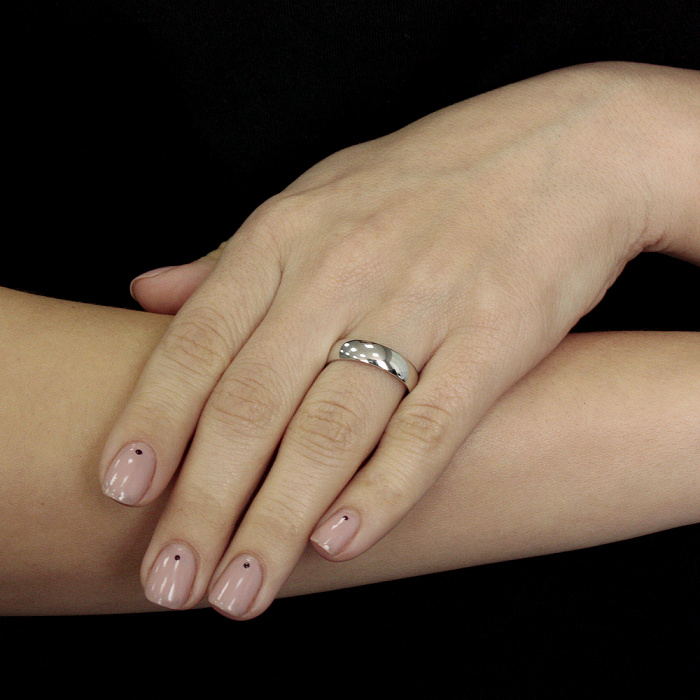 Золотое обручальное кольцо Элегия в белом цвете 10106/02/1