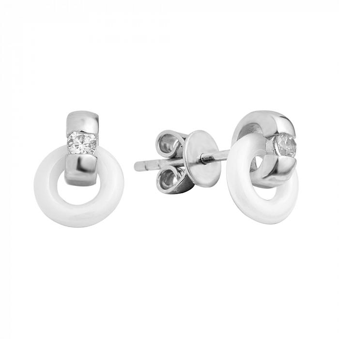 Серебряные серьги-пуссеты с белой керамикой и фианитами 000131748 000131748