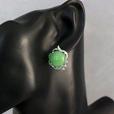 Серебряные серьги Зеленая ягодка с узорами, хризопразами и фианитами