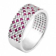 Серебряное кольцо Цветочный Орнамент с фианитами