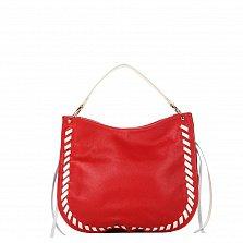 Кожаная сумка на каждый день Genuine Leather 8701 красного цвета с белыми вставками, на молнии