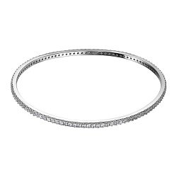 Серебряный жесткий браслет с фианитами 000134203
