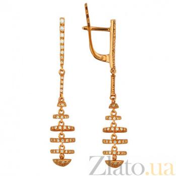 Серьги из красного золота с фианитами Гекуба VLT--ТТТ2214-2