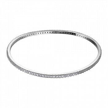 Срібний жорсткий браслет з фіанітами 000134203