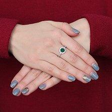 Серебряное кольцо Янина с зеленым агатом и фианитами