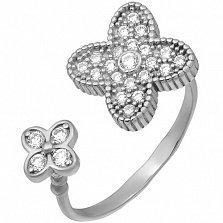 Серебряное кольцо с фианитами Четыре лепестка