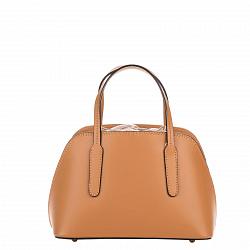 Миниатюрная кожаная сумка Genuine Leather 8672 коньячного цвета на кулиске, с металлическими ножками