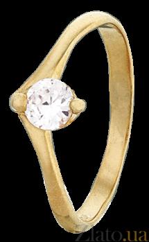 Позолоченное серебряное кольцо с фианитом Заяна 000025644